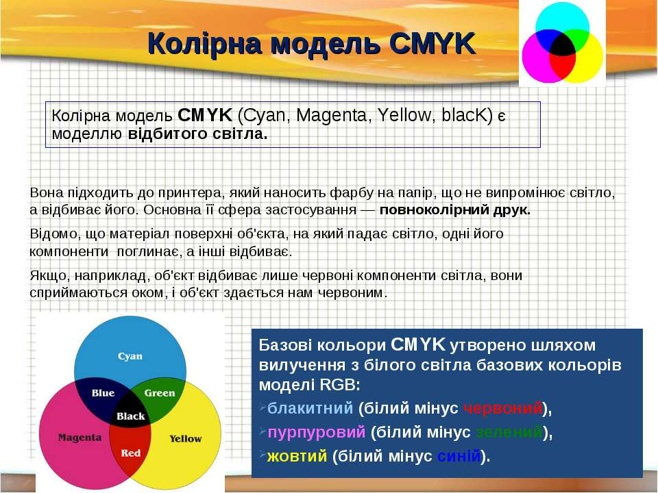 Колірна модель CMYK Колірна модель CMYK (Cyan, Magenta, Yellow, blacK) є моде...