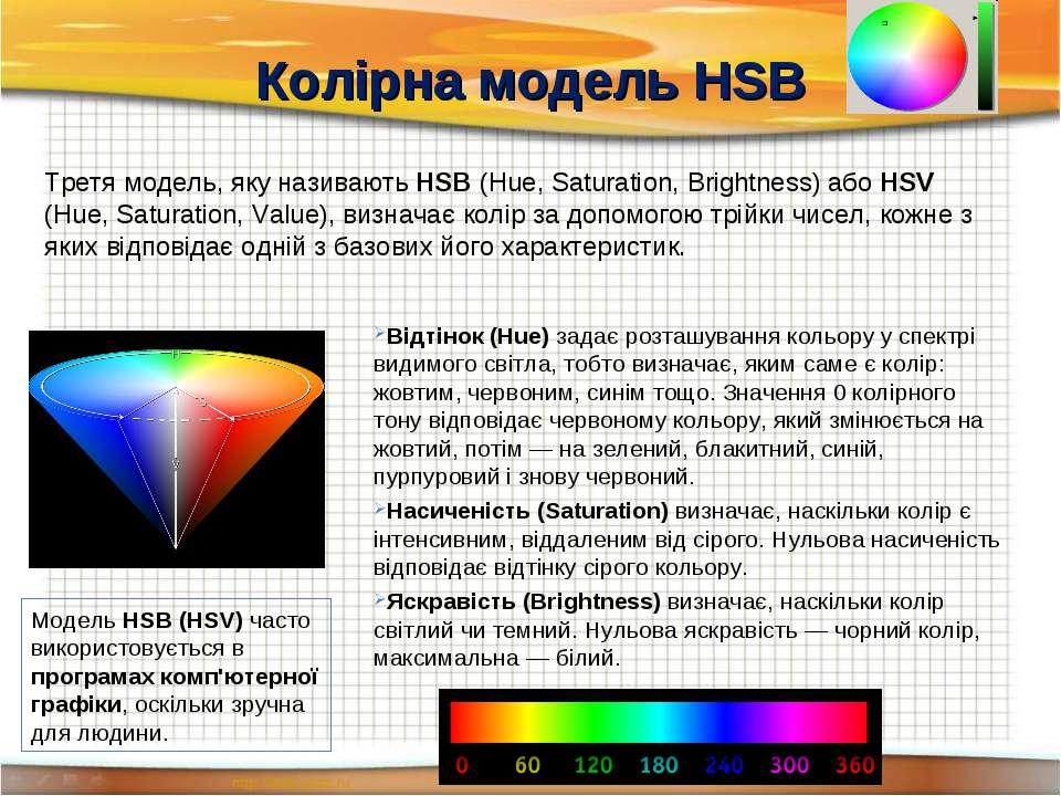 Колірна модель HSB Третя модель, яку називають HSB (Hue, Saturation, Brightne...
