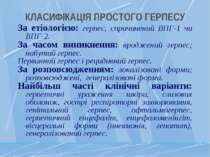 КЛАСИФІКАЦІЯ ПРОСТОГО ГЕРПЕСУ За етіологією: герпес, спричинений ВПГ-1 чи ВПГ...