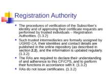 Registration Authority The procedures of verification of the Subscriber's ide...