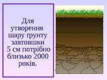 Для утворення шару ґрунту завтовшки 5 см потрібно близько 2000 років.