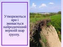 Утворюються яри і змивається найродючіший верхній шар ґрунту.