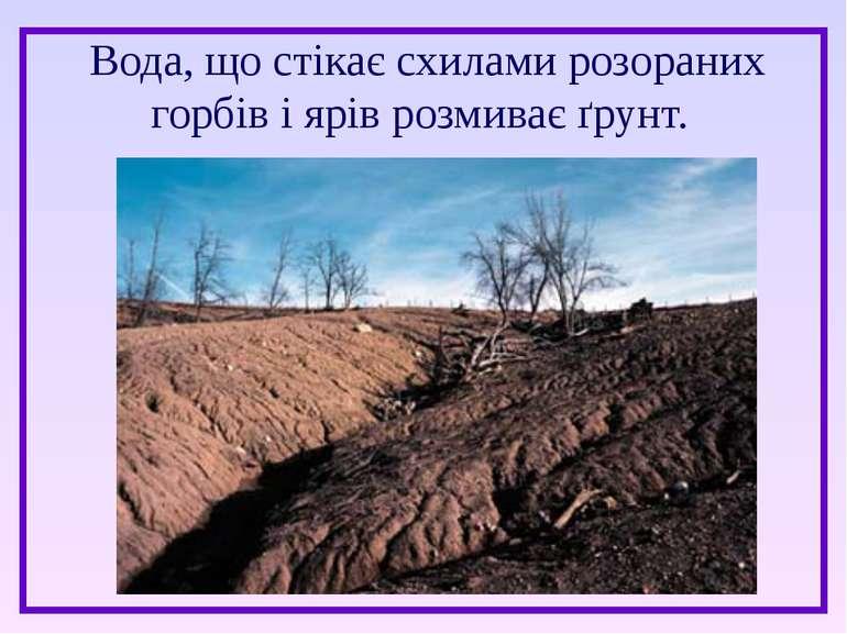 Вода, що стікає схилами розораних горбів і ярів розмиває ґрунт.