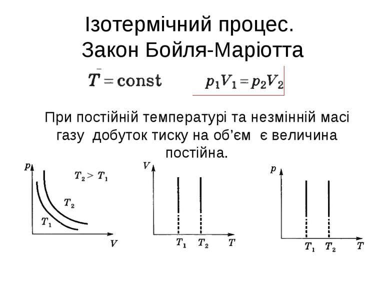 Ізотермічний процес. Закон Бойля-Маріотта При постійній температурі та незмін...