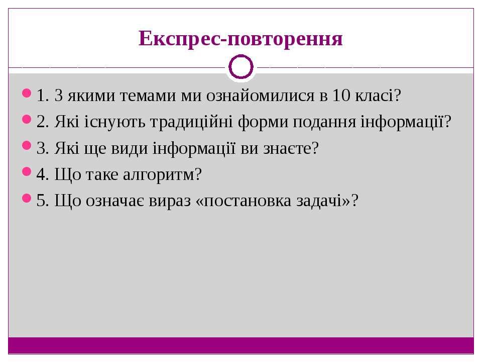 Експрес-повторення 1. З якими темами ми ознайомилися в 10 класі? 2. Які існую...