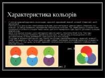 Характеристика кольорів У спектрі зазвичай виділяють сім кольорів: червоний, ...