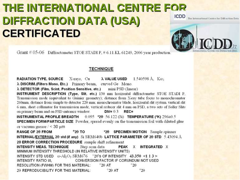 THE INTERNATIONAL CENTRE FOR DIFFRACTION DATA (USA) CERTIFICATED