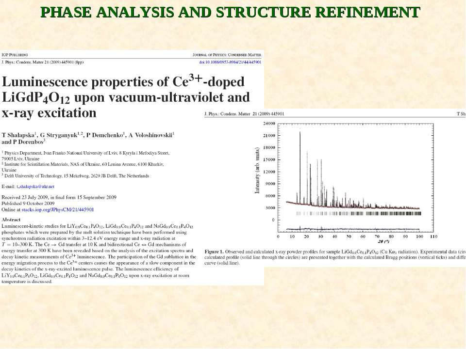 PHASE ANALYSIS AND STRUCTURE REFINEMENT