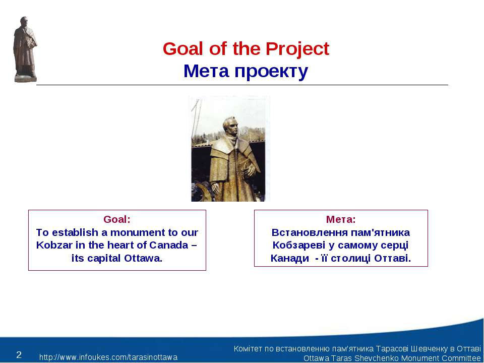 Goal of the Project Мета проекту Goal: To establish a monument to our Kobzar ...