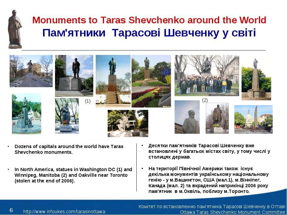 Monuments to Taras Shevchenko around the World Пам'ятники Тарасові Шевченку у...
