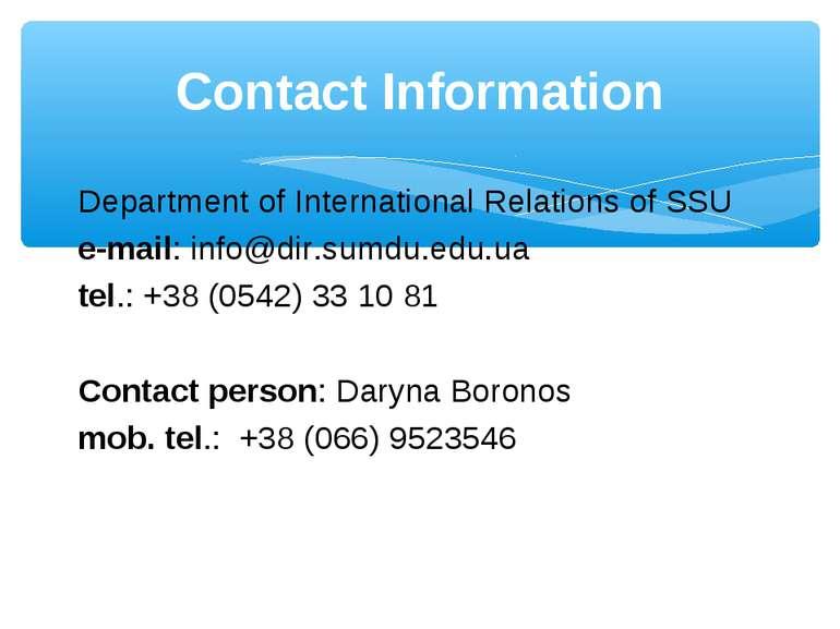 Department of International Relations of SSU e-mail: info@dir.sumdu.edu.ua te...