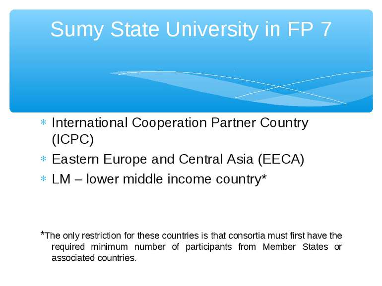 International Cooperation Partner Country (ICPC) Eastern Europe and Central A...