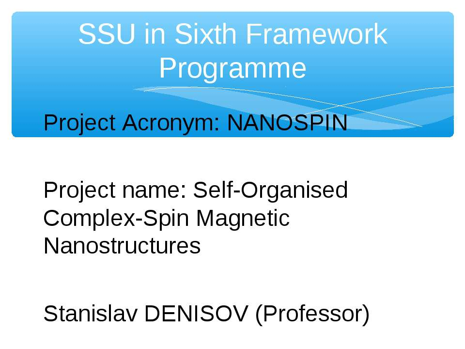 Project Acronym: NANOSPIN Project name: Self-Organised Complex-Spin Magnetic ...