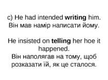 c) He had intended writing him. Він мав намір написати йому. He insisted on t...