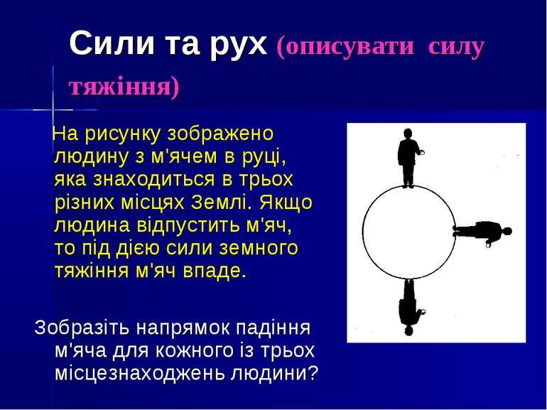 Сили та рух (описувати силу тяжіння) На рисунку зображено людину з м'ячем в р...