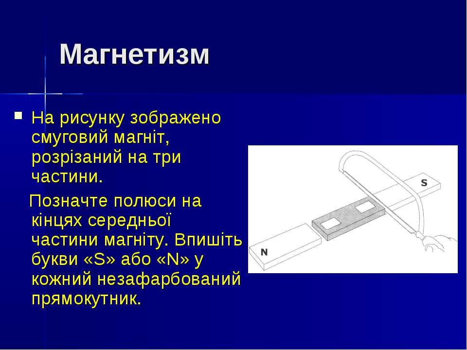 Магнетизм На рисунку зображено смуговий магніт, розрізаний на три частини. По...