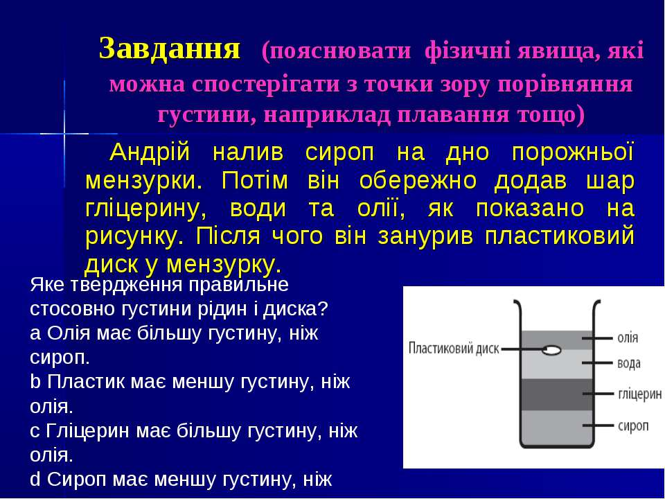 Завдання (пояснювати фізичні явища, які можна спостерігати з точки зору порів...