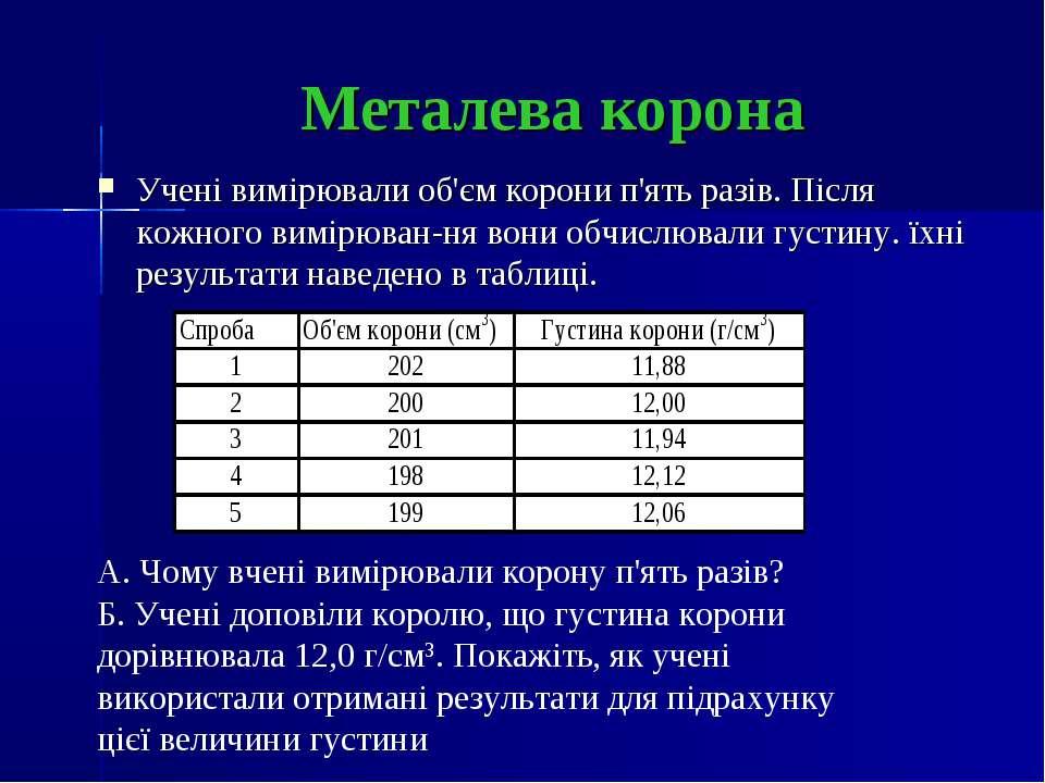 Металева корона Учені вимірювали об'єм корони п'ять разів. Після кожного вимі...
