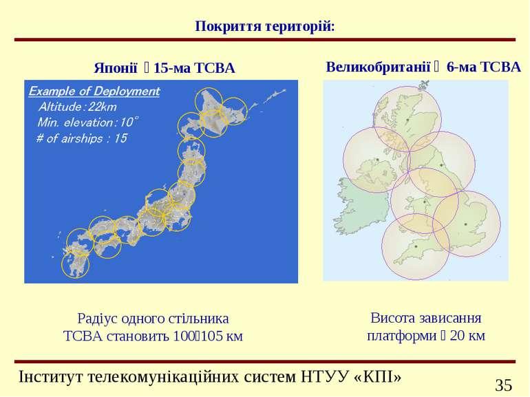 Покриття територій: Радіус одного стільника ТСВА становить 100 105 км Японії ...