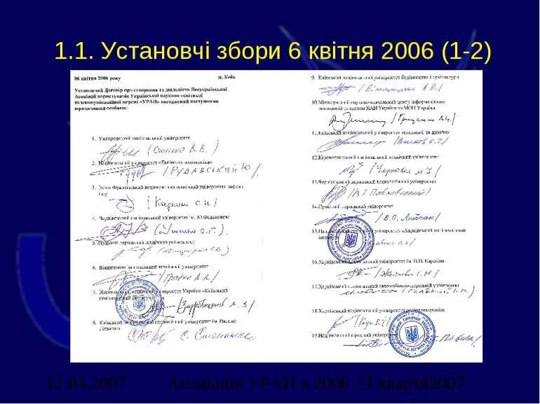 1.1. Установчі збори 6 квітня 2006 (1-2) Асоціація УРАН в 2006 – І кварт. 2007