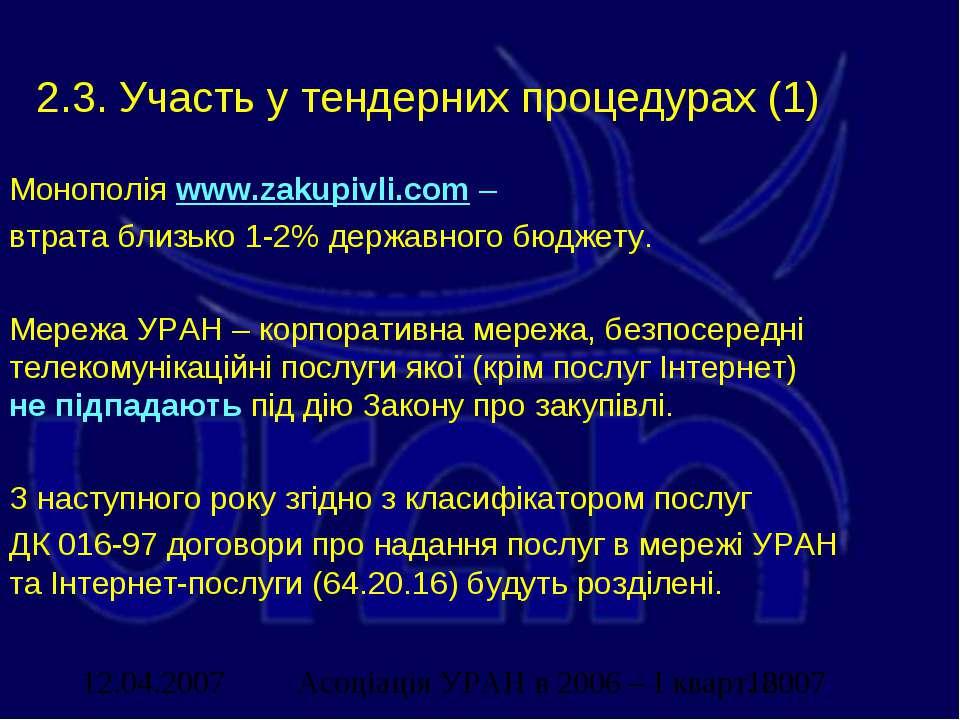 2.3. Участь у тендерних процедурах (1) Монополія www.zakupivli.com – втрата б...