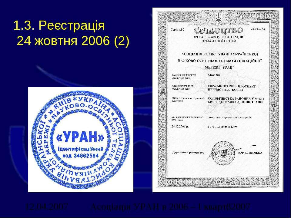 1.3. Реєстрація 24 жовтня 2006 (2) Асоціація УРАН в 2006 – І кварт. 2007