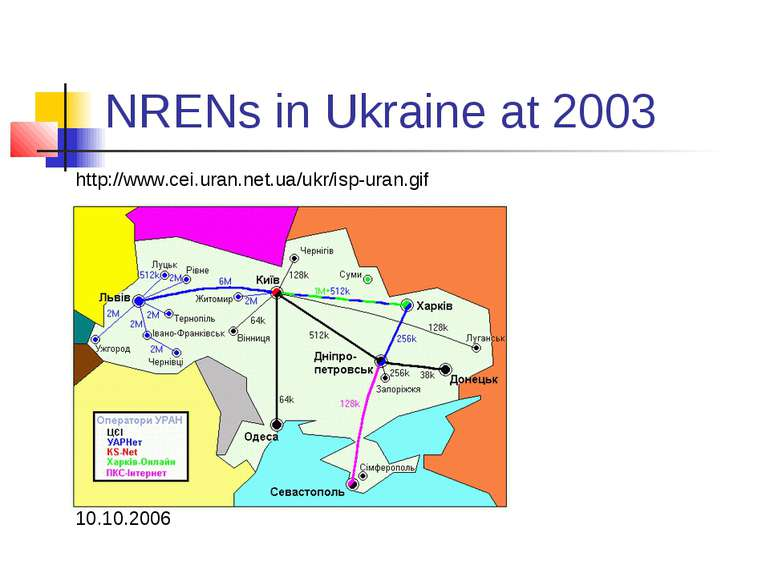 NRENs in Ukraine at 2003 http://www.cei.uran.net.ua/ukr/isp-uran.gif 10.10.2006