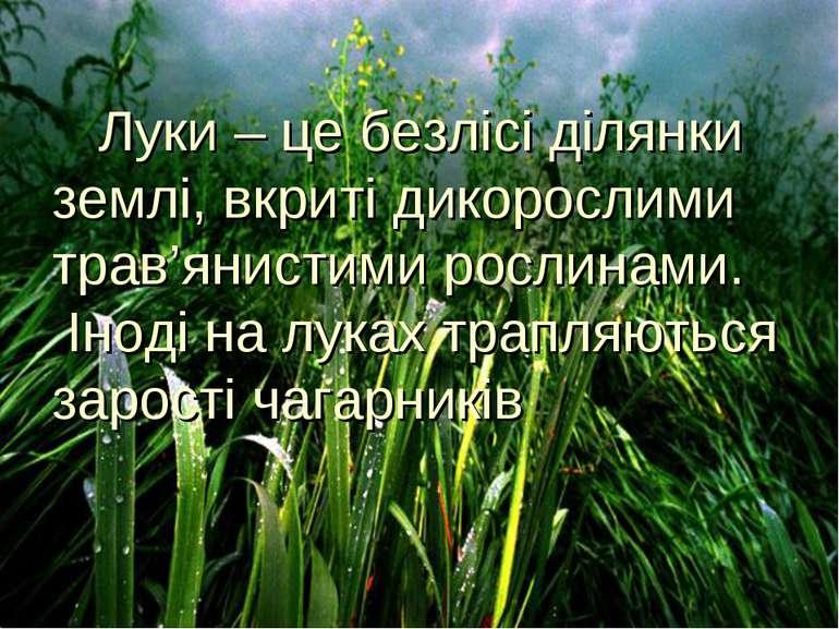 Луки – це безлісі ділянки землі, вкриті дикорослими трав'янистими рослинами. ...