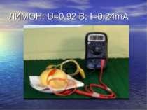 ЛИМОН: U=0.92 B; I=0.24mA
