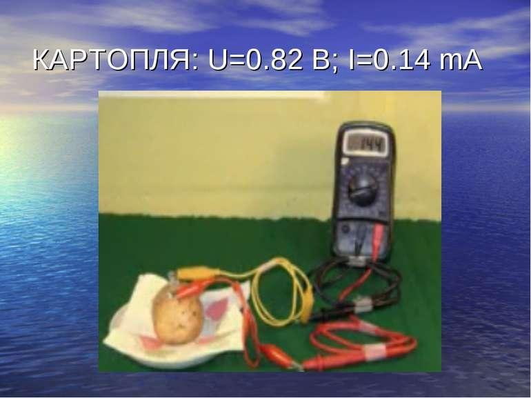 КАРТОПЛЯ: U=0.82 B; I=0.14 mA