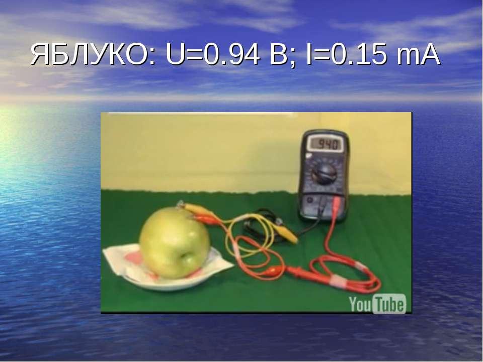 ЯБЛУКО: U=0.94 B; I=0.15 mA