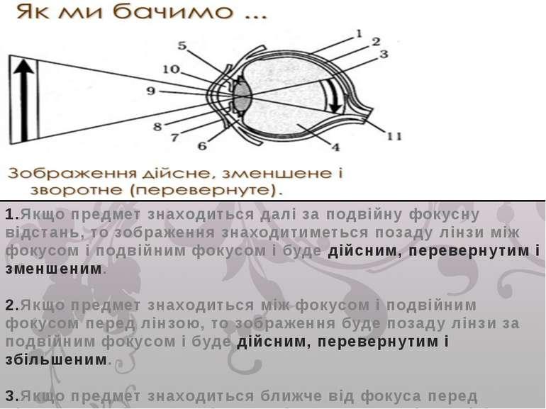 1.Якщо предмет знаходиться далі за подвійну фокусну відстань, то зображення з...