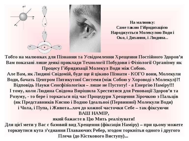 На малюнку: Саме такою Гібридизацією Народжується Молекулою Води і Око, і Дих...