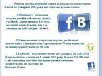 Рейтинг російськомовних мереж за кількістю користувачів станом на 2 квартал 2...