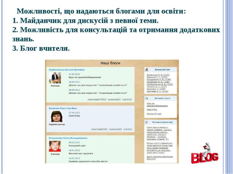 Можливості, що надаються блогами для освіти: 1. Майданчик для дискусій з певн...