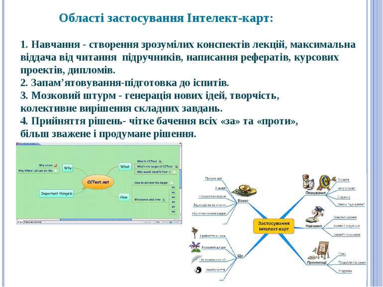 Області застосування Інтелект-карт: 1. Навчання - створення зрозумілих конспе...