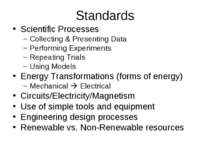Standards Scientific Processes Collecting & Presenting Data Performing Experi...