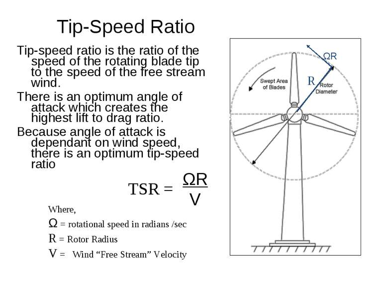 Tip-Speed Ratio Tip-speed ratio is the ratio of the speed of the rotating bla...