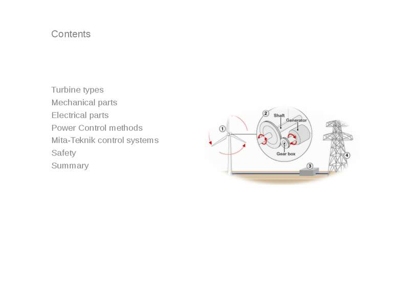 Contents Turbine types Mechanical parts Electrical parts Power Control method...