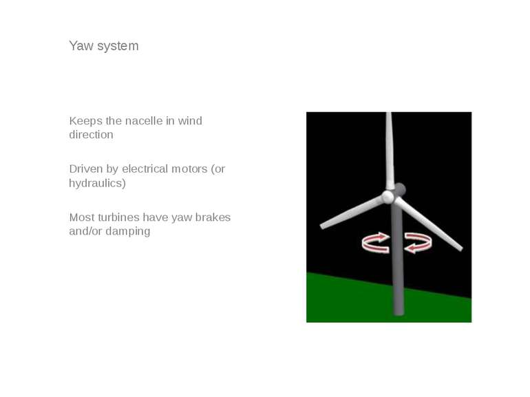 Yaw system Keeps the nacelle in wind direction Driven by electrical motors (o...