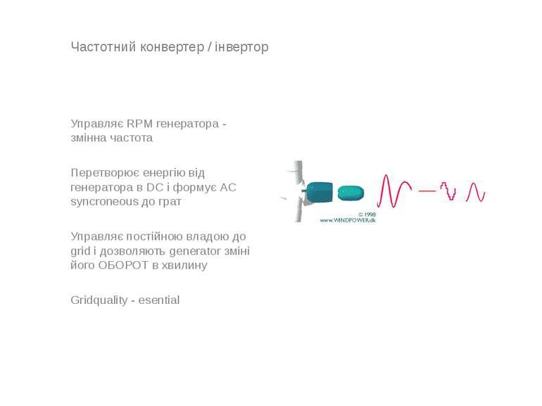 Частотний конвертер / інвертор Управляє RPM генератора - змінна частота Перет...