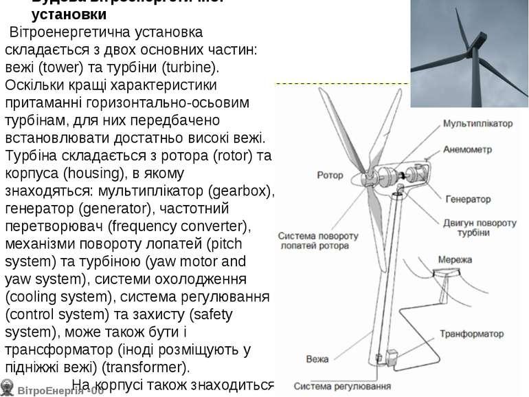 Будова вітроенергетичної установки Вітроенергетична установка складається з ...