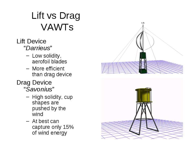 "Lift vs Drag VAWTs Lift Device ""Darrieus"" Low solidity, aerofoil blades More ..."