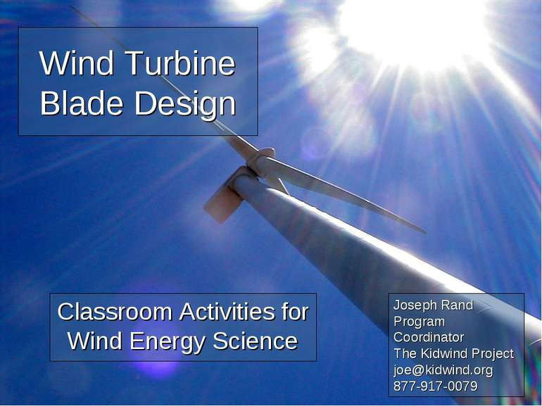 Wind Turbine Blade Design Classroom Activities for Wind Energy Science Joseph...