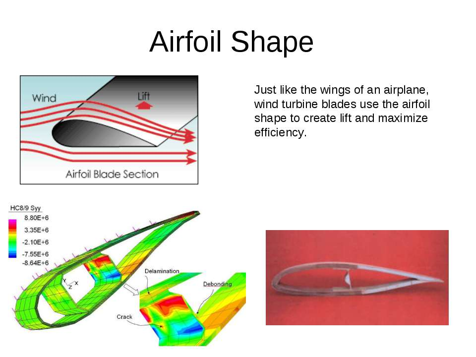 Airfoil Shape Just like the wings of an airplane, wind turbine blades use the...