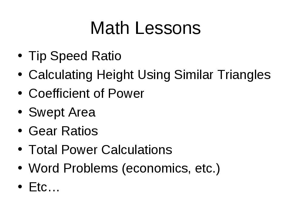 Math Lessons Tip Speed Ratio Calculating Height Using Similar Triangles Coeff...
