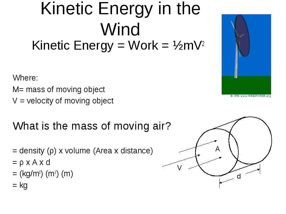 Kinetic Energy in the Wind Kinetic Energy = Work = ½mV2 Where: M= mass of mov...