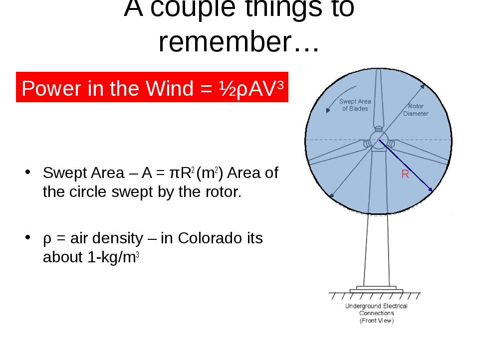 A couple things to remember… Swept Area – A = πR2 (m2) Area of the circle swe...