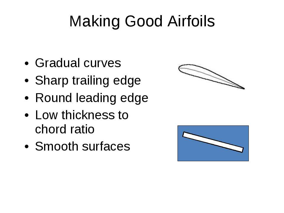 Gradual curves Sharp trailing edge Round leading edge Low thickness to chord ...