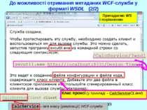 До можливості отримання метаданих WCF-служби у форматі WSDL (2/2) CalcService...